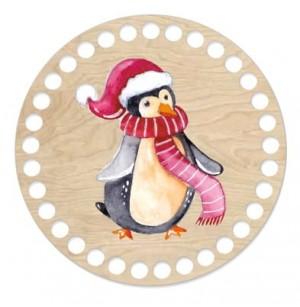 Horgolható fa alap kör Ø15 cm - pingvin
