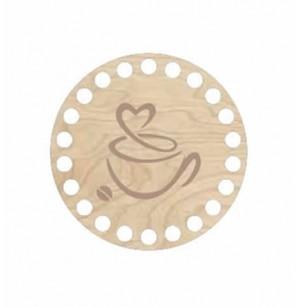 Horgolható fa alap kör Ø12 cm - csésze kávé mintával