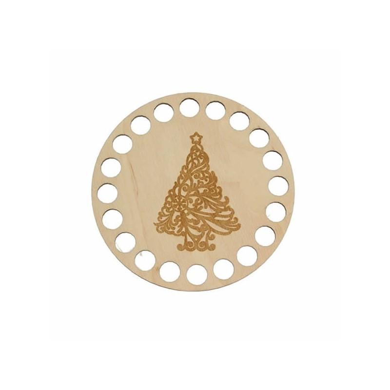 Horgolható fa alap kör Ø10 cm - karácsonyfa mintával