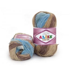 Cotton Gold Batik 4148 barna-szürke-kék