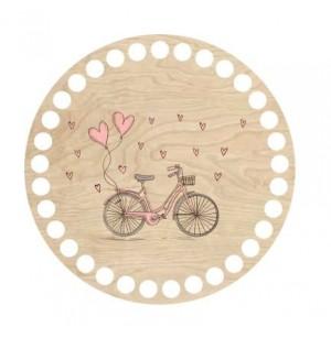 Horgolható fa alap kör Ø15 cm - retro kerékpár mintával