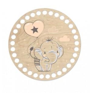 Horgolható fa alap kör Ø15 cm - elefánt mintával