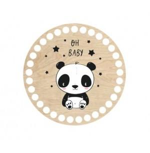 Horgolható fa alap kör Ø15 cm - panda macis mintával
