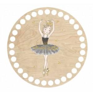 Horgolható fa alap kör Ø15 cm - balerina mintával
