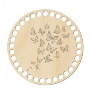 Horgolható fa alap kör Ø15 cm - pillangó mintával