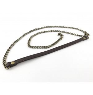 Táskapánt bronz színű lánc + sötétbarna bőr (120 cm)